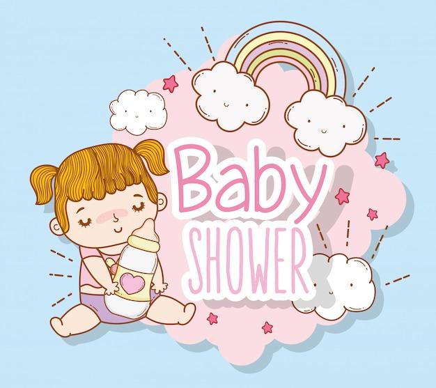 Het meisjesdouche van de baby met regenboog en wolken