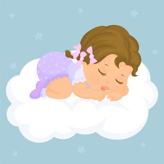 Het meisjesslaap van de baby op wolk