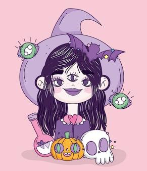 Het meisjestruc van de heks of behandelt gelukkig halloween