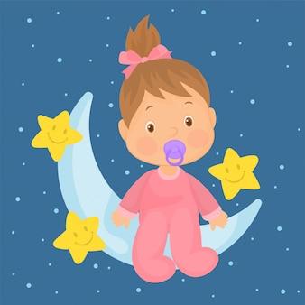 Het meisjeszitting van de baby op de maan