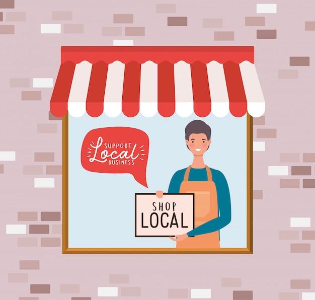 Het mensenbeeldverhaal met winkel lokaal aanplakbiljet in winkelontwerp van detailhandel koopt en marktthema