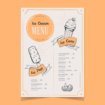 Het menu van het roomijsbord