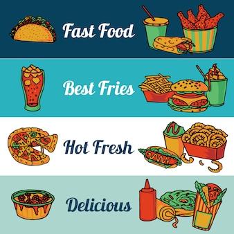 Het menu van het snel voedselrestaurant met pizza en hete trommelstokken vlakke horizontale banners geplaatst samenvatting geïsoleerde vectorillustratie