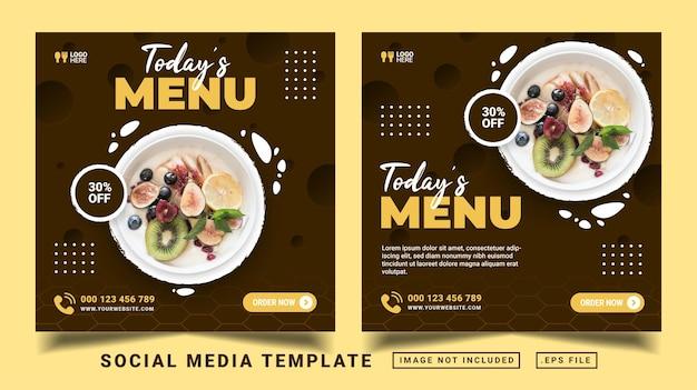 Het menusjabloon voor sociale media van vandaag. flyer of social media post geschikt voor promotieverkoop