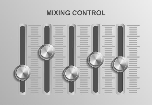 Het mixen van controle muziek dj, illustratie geluid audio, studio controle apparatuur record, media uitzending opname, entertainment professioneel ontwerpconcept