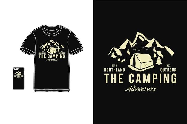 Het mockup voor kamperen, t-shirt-merchandise