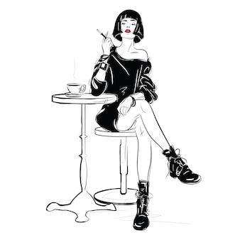 Het mode-meisje in schetsstijl.