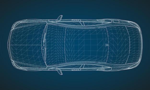 Het model heeft een premium sedan. vectorillustratie in de vorm van een wit veelhoekig driehoekig raster op een blauwe achtergrond.