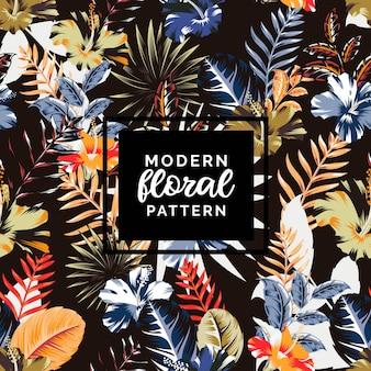 Het moderne abstracte tropische patroon van de hibiscusmengeling