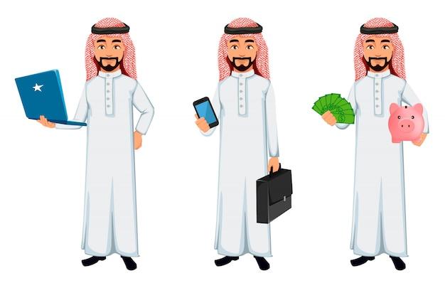 Het moderne arabische karakter van het bedrijfsmensenbeeldverhaal