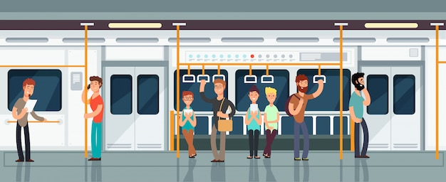 Het moderne binnenland van het metropassagiersvervoer met mensen