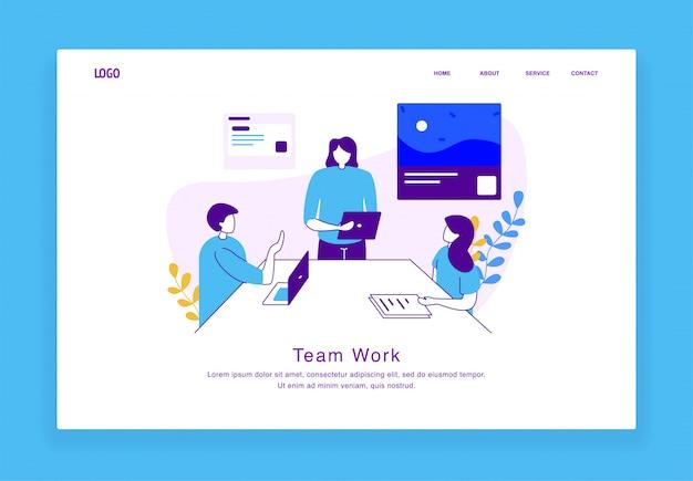 Het moderne concept van de douaneillustratie man en vrouwen die als team voor website en mobiele website samenwerken. bestemmingspagina sjabloon