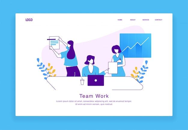 Het moderne concept van de douaneillustratie vrouwen die als team voor website en mobiele website samenwerken. bestemmingspagina sjabloon