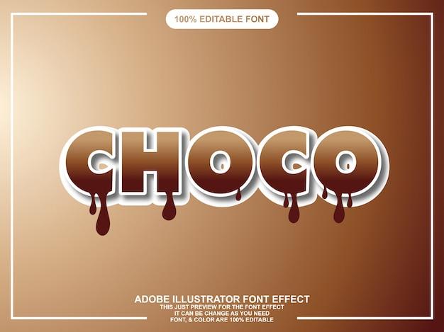 Het moderne gewaagde effect van de chocolade bewerkbare illustrator tekst