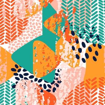 Het moderne patroon van abstracte vormen met grungetextuur, borstelvlekken en punten. vector naadloos patroon in felle kleuren en collagestijl. geometrische grunge textuur achtergrond. moderne behang.
