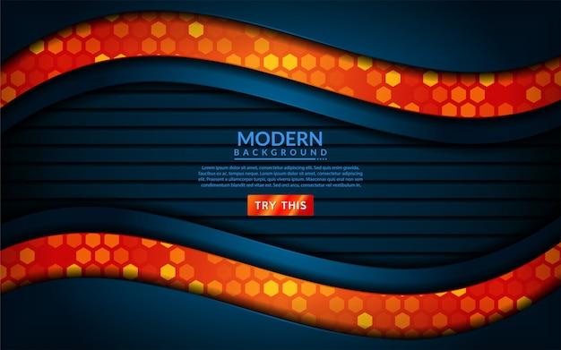 Het moderne technologieblauw combineert met oranje achtergrond