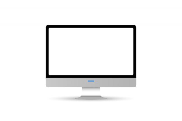 Het moderne voorwerp van de computermonitor dat op witte achtergrond wordt geïsoleerd