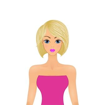 Het mooie blonde meisje kijkt recht binnen