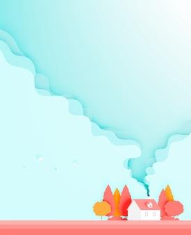 Het mooie huis in het seizoen van het de herfstseizoen sneed stijl vectorillustratie als achtergrond