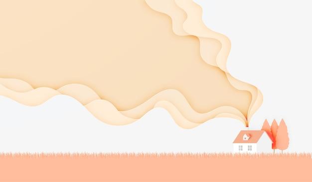 Het mooie huisdocument sneed stijl vectorillustratie als achtergrond