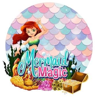 Het mooie karakter van het zeemeerminkarton met de lege geïsoleerde banner van pastelkleurschalen