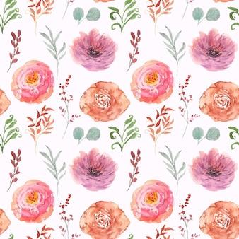 Het mooie kleurrijke bloemenpatroon van waterverfsteekproeven