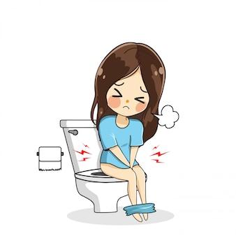 Het mooie meisje was poepen met de stress in het toilet.