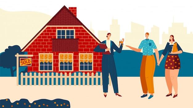 Het mooie paar koopt eerste huis, chacarter-vrouw, mannelijk aankoophuis, familiemensen, illustratie. makelaar verkopen huisje.