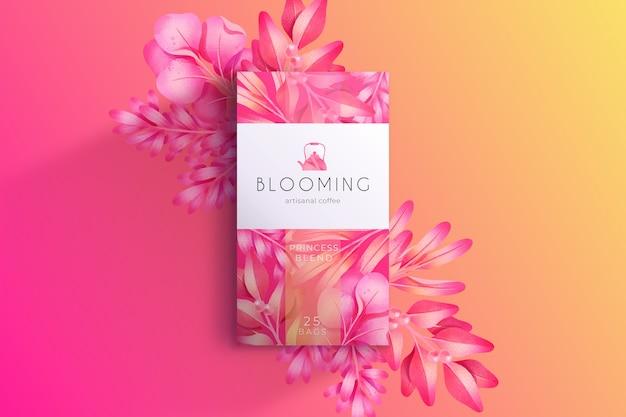 Het mooie roze behang van waterverfbloemen