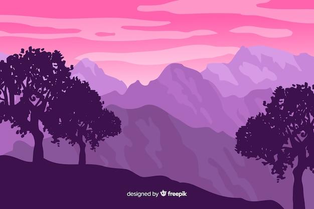 Het mooie roze gradiënt van het bergenlandschap