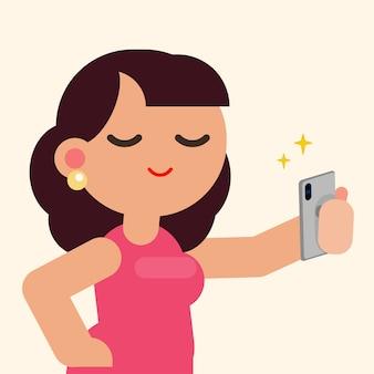 Het mooie vrouw gelukkige glimlachen die selfie met smartphone, vector vlakke illustratie nemen.