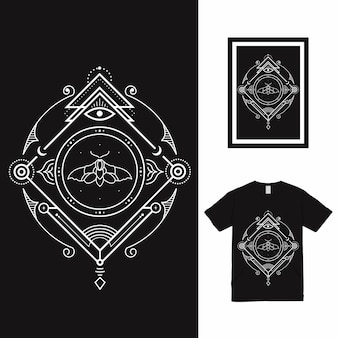 Het moth eye line art t-shirt design