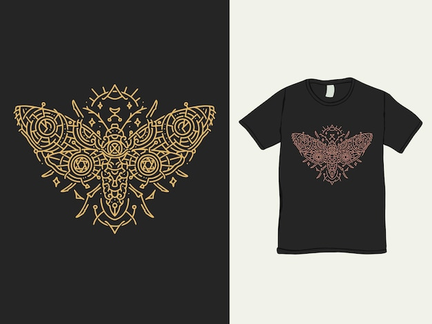 Het mottenpatroon monoline t-shirtontwerp