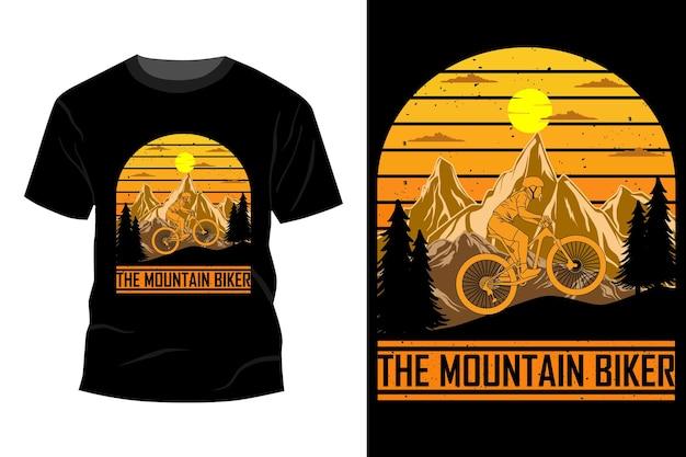 Het mountainbike t-shirt mockup ontwerp vintage retro