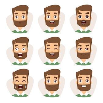 Het mozaïek van gezichtenkarakters van de jonge baardmens die verschillende emotiespictogrammen uitdrukken.