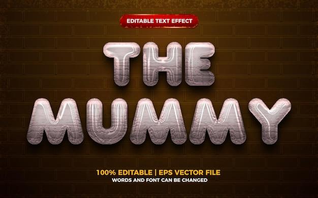 Het mummie halloween 3d bewerkbare teksteffect