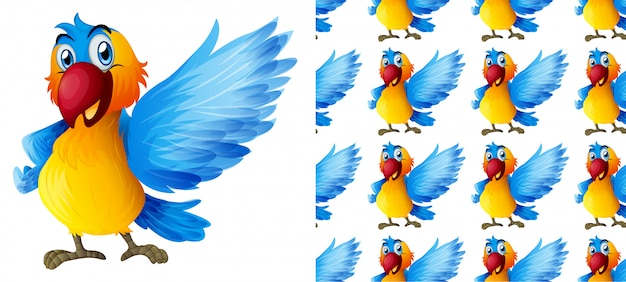 Het naadloze beeldverhaal van het papegaai dierlijke patroon