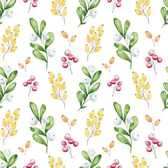 Het naadloze bloemenpatroon van waterverfkerstmis