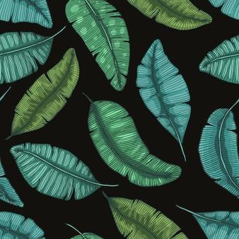 Het naadloze hand getrokken patroon met banaan verlaat tropische textuur botanische illustratie