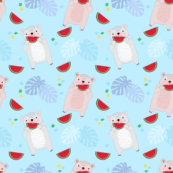 Het naadloze patroon met cuet draagt etend watermeloen.
