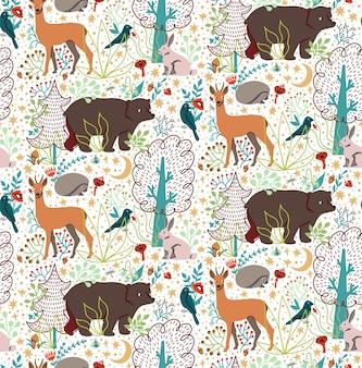 Het naadloze patroon met hand getrokken vlakke grappige dieren draagt, herten, egel, hazen, vogels, bomen.