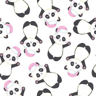 Het naadloze patroon met panda draagt met santa claus-hoed