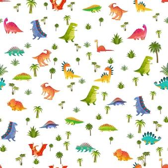 Het naadloze patroon van babydino. dierlijke draak en schattige natuur dinosaurus in de jungle, kinderachtig heldere reptielen textuur voor kinderdagverblijf behang, stoffen en inpakpapier, vector achtergrond geïsoleerd op wit