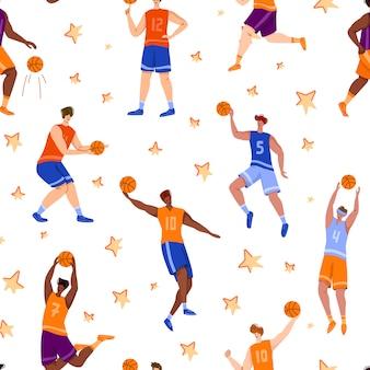 Het naadloze patroon van basketbalspelers - spiermensen met bal rennen en springen, het traning van het sportteam