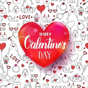 Het naadloze patroon van de valentijnskaartendag met hand getrokken liefdesymbolen. 3d rood hart met handgeschreven letters citaat