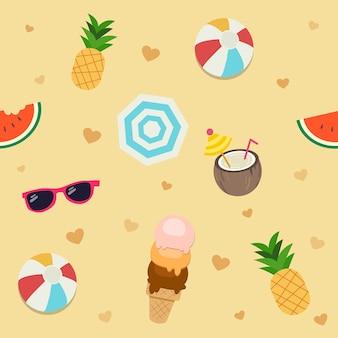 Het naadloze patroon van de zomer set pack
