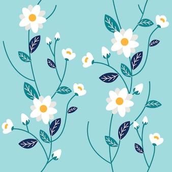 Het naadloze patroon van een witte bloem en blad