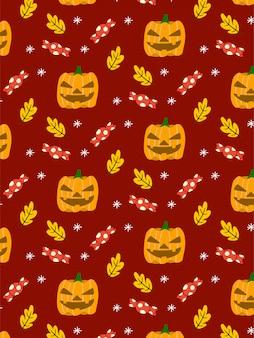 Het naadloze patroon van halloween van het pompoensuikergoed