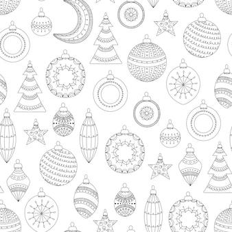 Het naadloze patroon van kerstboomdecoratie