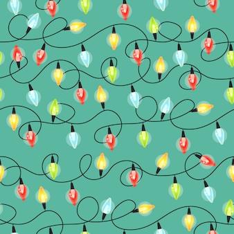 Het naadloze patroon van kerstmis gloeilampen, kleurrijke kerstmisslinger